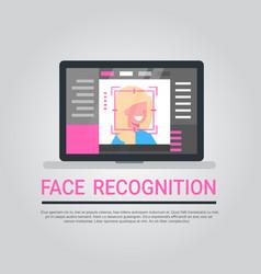 Face recognition technology laptop computer vector
