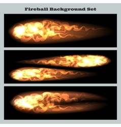 Fireball background set vector image vector image