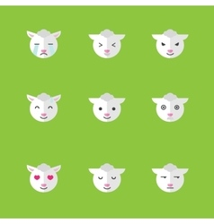 Flat sheep emotions icon set vector
