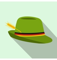 Green hat with a feather icon flat style vector image