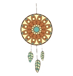 Hand drawn colorful dreamcatcher vector image