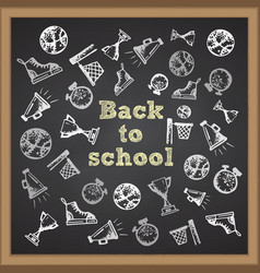 Hand drawn school icon on chalkboard with text vector