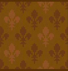 Heraldic lily on a seamless woolen pattern vector