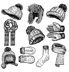 ink hand drawn style winter warm clothing vector image