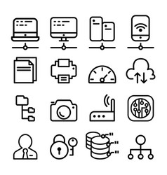 network icon set in thin line style vector image vector image
