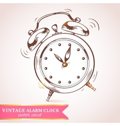 Old retro alarm clock card vector image vector image