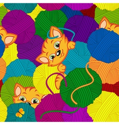 seamless pattern with kitten and balls of yarn vector image vector image