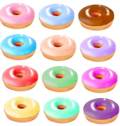set of colored donuts vector image vector image