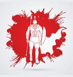 Spartan warriorroman fighter with a spear walking vector