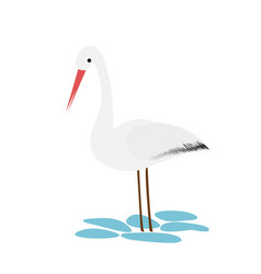Stork icon in cartoon style isolated on white vector