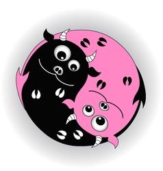 Symbol yin yang with devils vector