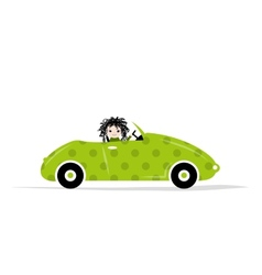 Woman driving car for your design vector image vector image