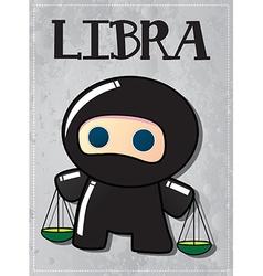 Zodiac sign Libra with cute black ninja character vector image vector image