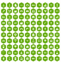 100 industry icons hexagon green vector
