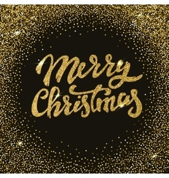 Merry Christmas gold glitter lettering with frame vector image