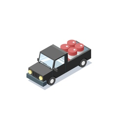 Isometric black wagon car with blue barrels vector