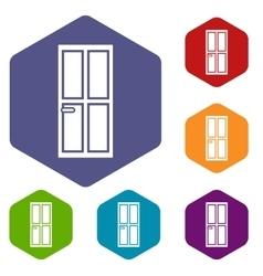Closed wooden door icons set vector image