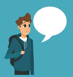 Young guy backpack with bubble speech vector