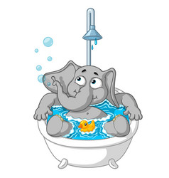 elephant character taking a bath vector image