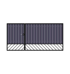 Iron gate with door vector