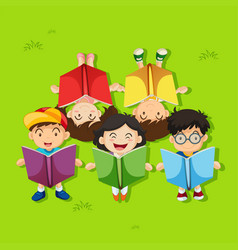 Many children reading books in the park vector