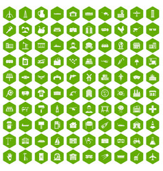100 industry icons hexagon green vector