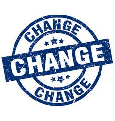 Change blue round grunge stamp vector