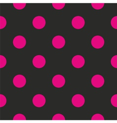 Seamless dark pattern with big neon pink polka dot vector