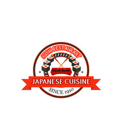 Japanese restaurant badge design of seafood sushi vector