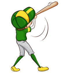 A sketch of a baseball player in green uniform vector