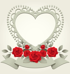 Roses vintage heart shape frame and border vector