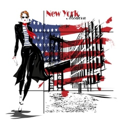 beautiful young woman with national usa flag vector image