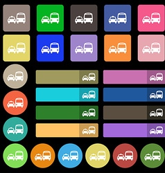 Taxi icon sign set from twenty seven multicolored vector