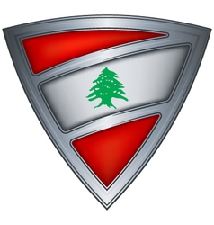 Steel shield with flag lebanon vector