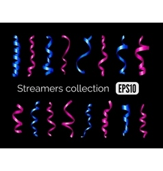 Collection of shiny blue streamers and pink party vector image