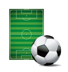 Soccer football field and ball isolated on white vector