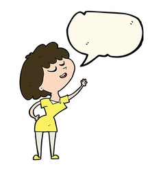 Cartoon happy woman about to speak with speech vector