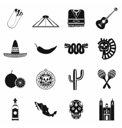 Mexico icons black vector image