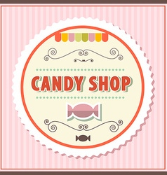 Candy shop retro on vintage pink background vector