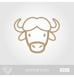 Buffalo bison ox icon animal head symbol vector
