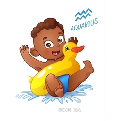 Zodiac sign aquarius african americam child vector