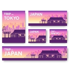 Japan landscape banners set design vector