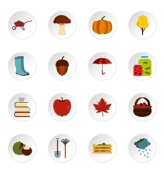 Autumn icons set flat style vector