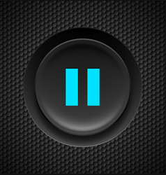 Black button with blue pause sign on carbon vector