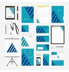 Blue pyramid corporate style template vector image vector image