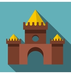 Brown castle icon flat style vector image