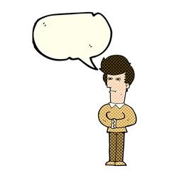 Cartoon man narrowing his eyes with speech bubble vector