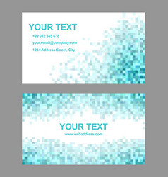 Cyan square mosaic business card template set vector