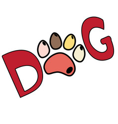 Dog red text word print with colorful paw isolated vector