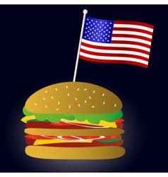 fastfood hamburger and USA flag symbol eps10 vector image vector image
